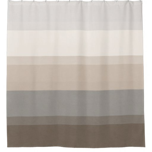 Gray Taupe And White Bedroom Curatins: Chic Taupe, Cream And Gray Striped Shower Curtain