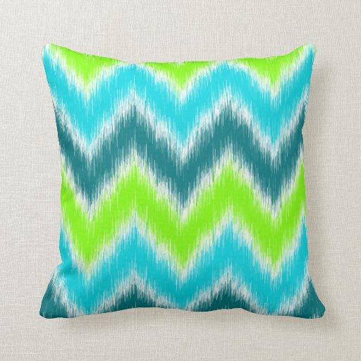 Chic Teal Lime Green Turquoise Zigzag Pattern Throw