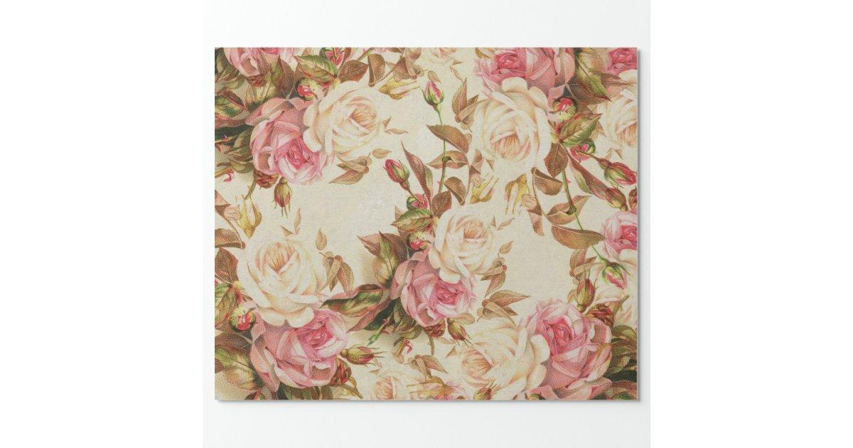 Chic Vintage Pink White Brown Roses Floral Pattern