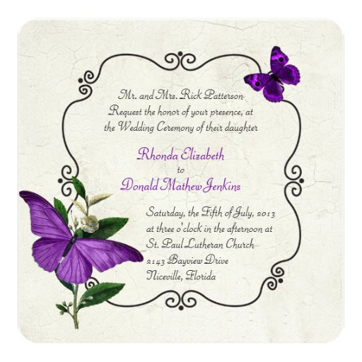 Butterfly Themed Wedding Invitations: Chic Vintage Purple Butterflies Wedding Invitation