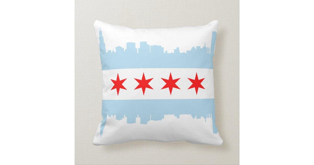 Chicago Flag Skyline American Mojo Pillow Zazzle