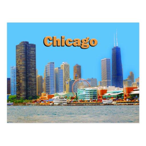 Pier 31: Chicago Skyline At Navy Pier Postcard