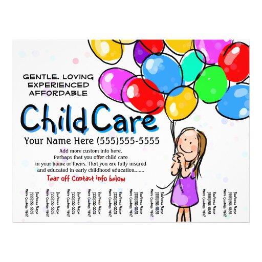 child care babysitting day care promo flyer zazzle. Black Bedroom Furniture Sets. Home Design Ideas