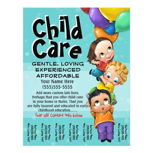 child care babysitting day care tear sheet flyer design. Black Bedroom Furniture Sets. Home Design Ideas