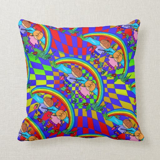 Colorful Kids Rooms: Children Fishing Colorful Kids Room Pillows