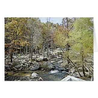 Chimney Rock, Creek, & Seasons Greetings card