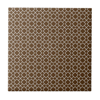 Chocolate Brown and White Geometric Pattern Pt8 Tiles