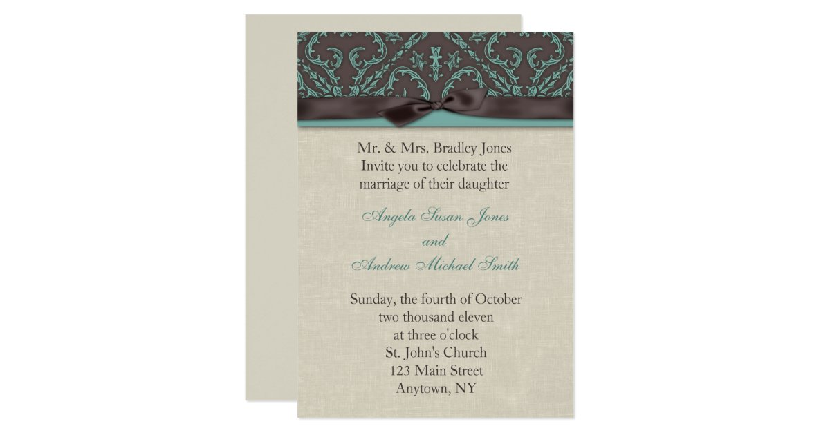Turquoise And Brown Wedding Invitations: Chocolate Turquoise Invitation