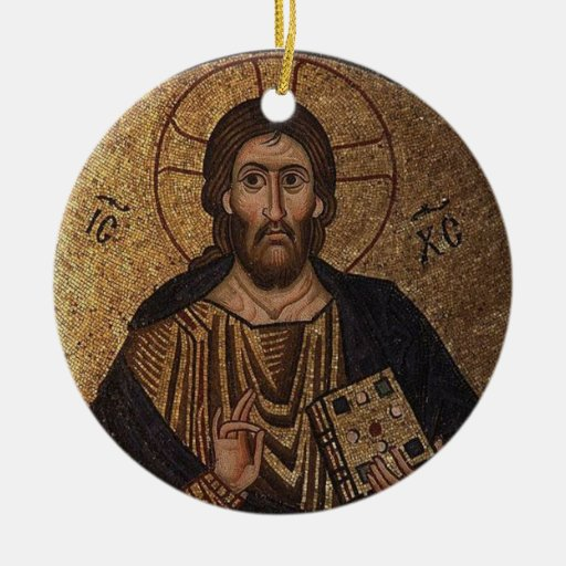 Handmade Christmas Ornament Religious Ornament Icon: Christ Pantocrator Mosaic Christian Orthodox Icon Ceramic