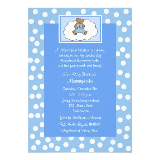 "Spiritual Baby Shower Quotes: Christian Religious Baby Shower Invitation, Blue 5"" X 7"