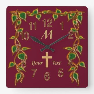 Christian Wall Clocks with Monogram and Your Text