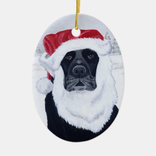 Christmas Black Labrador Santa Ceramic Ornament | Zazzle