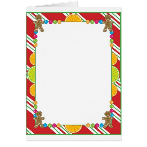 christmas candy border greeting card  zazzle