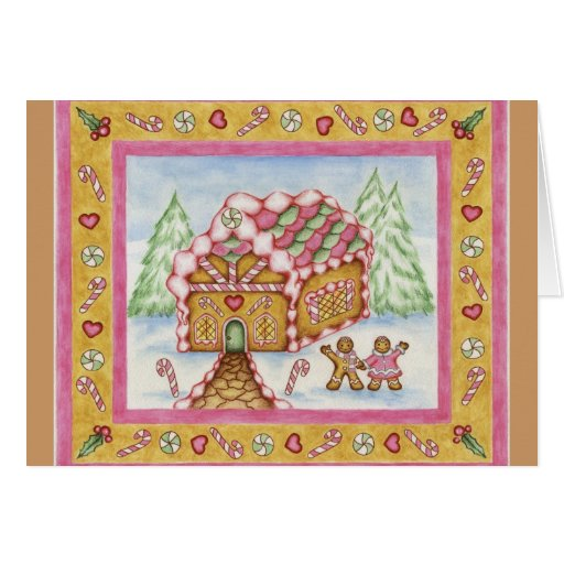 Christmas Card Gingerbread House Pink