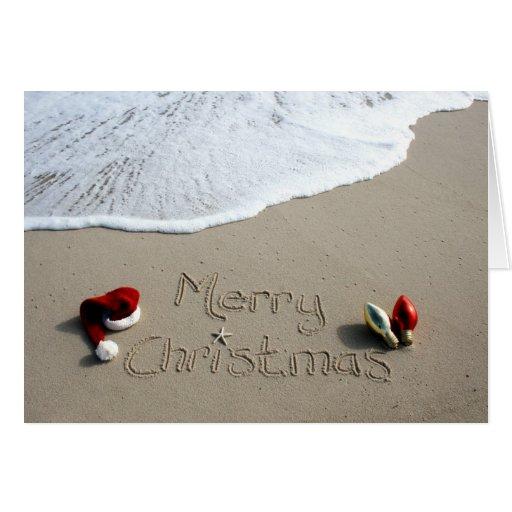 Christmas Card Holiday Beach Sand Ocean | Zazzle