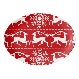 Christmas Deer Red and White Holiday Pattern Porcelain Serving Platter