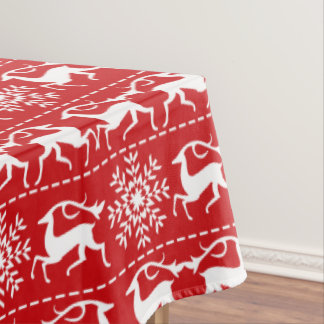 Deer Red and White Holiday Tablecloth