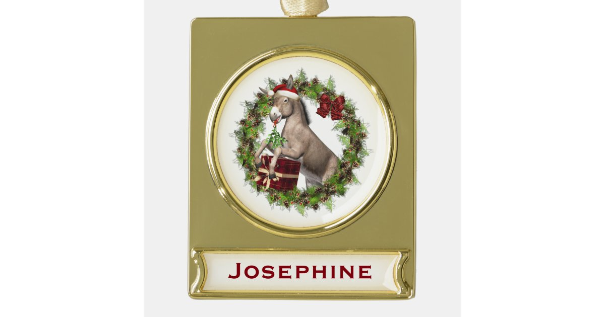 Christmas Donkey Personalized Banner Ornament | Zazzle