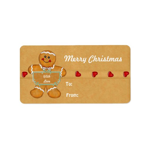 Christmas Gingerbread Man Gift Tags Personalized Address