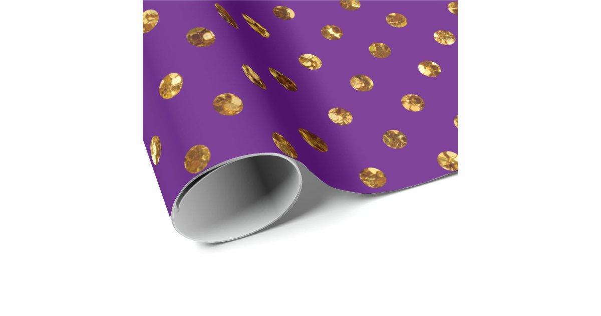 Christmas Gold Glitter Dots Purple Wrapping Paper Zazzle