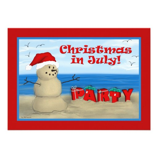 "Christmas in July Party invitations 5"" X 7"" Invitation Card 