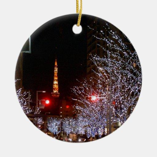Christmas in Tokyo, Japan Ceramic Ornament | Zazzle