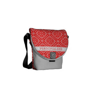 Christmas Lace Red and White Delicate Lacy Pattern Messenger Bags