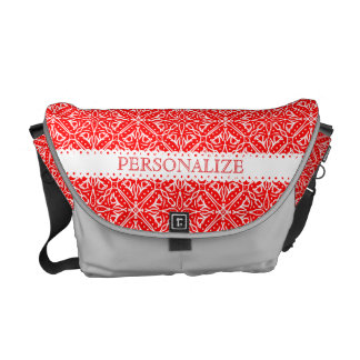 Christmas Lace Red and White Delicate Lacy Pattern Courier Bag