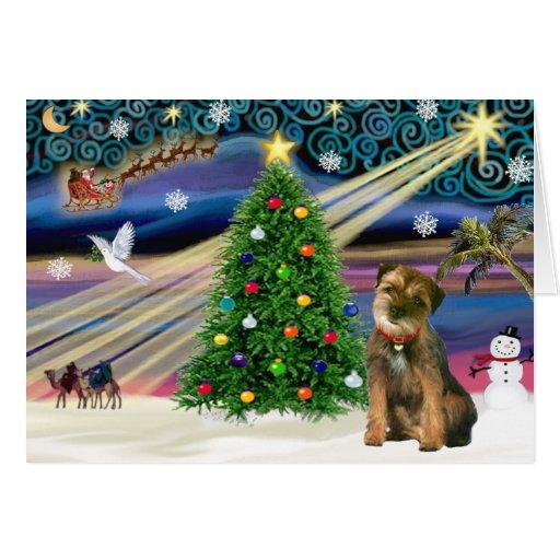 christmas magic border terrier card  zazzle