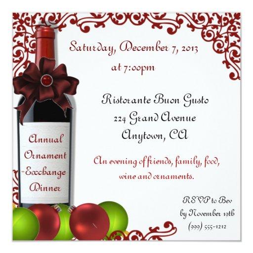 Christmas Ornament Exchange Dinner Invitations   Zazzle