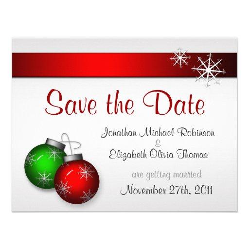 Save The Date Wedding Invitation Ornaments Save The Date: Christmas Ornaments Wedding Save The Date 4.25x5.5 Paper