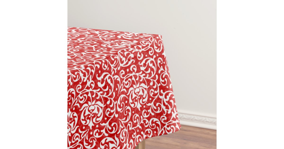Christmas Red And White Elegant Floral Pattern Tablecloth