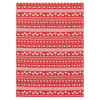 Christmas Red and White Reindeer and Snowflakes Tablecloth