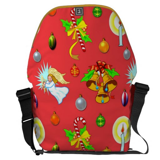 Christmas Singing Angels and Golden Bells Rickshaw Large Zero Messenger Bag