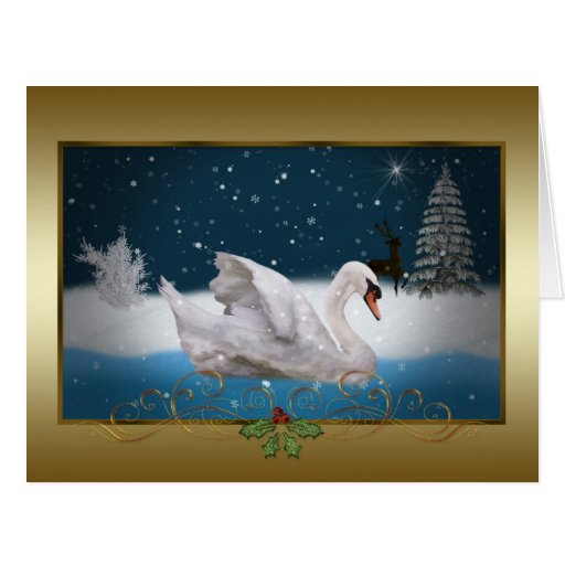 Christmas At The Lake: Christmas, Snowy Night With A Swan On A Lake Card