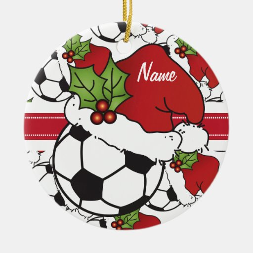 Christmas Soccer Ball | Personalize Ceramic Ornament | Zazzle