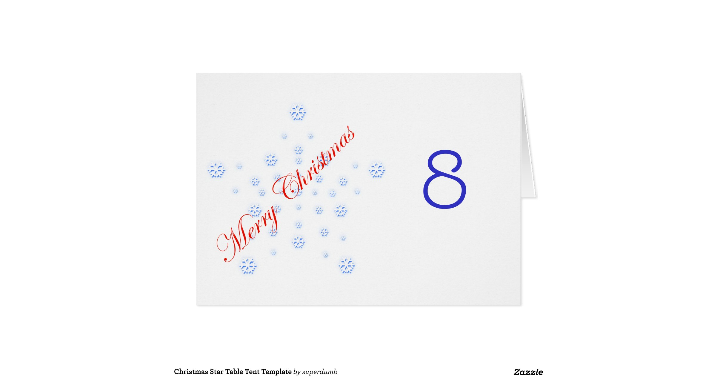 Christmas Star Table Tent Template Stationery Note Card Zazzle s4W427RS