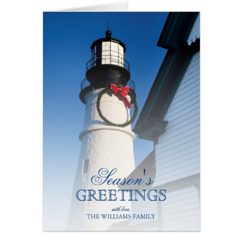 Christmas time at Portland Head Lighthouse Card