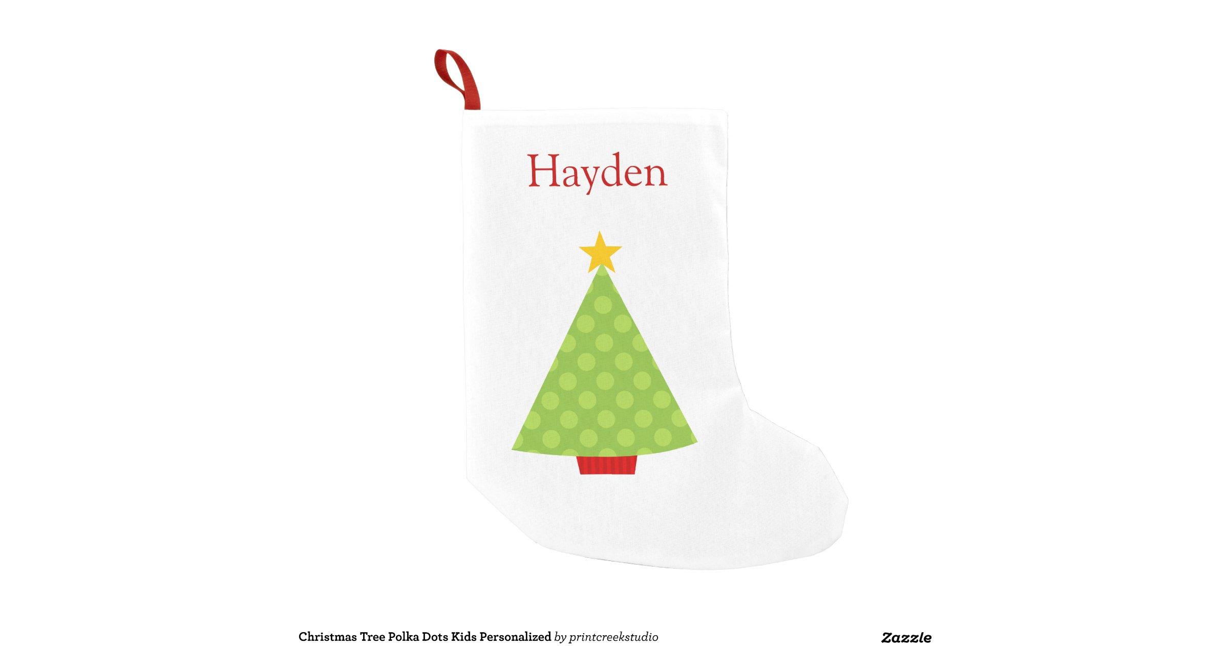 Christmas Tree Polka Dots Kids Personalized Small
