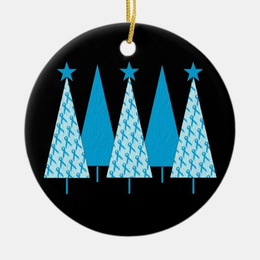 Christmas Trees - Light Blue Ribbon Ceramic Ornament | Zazzle