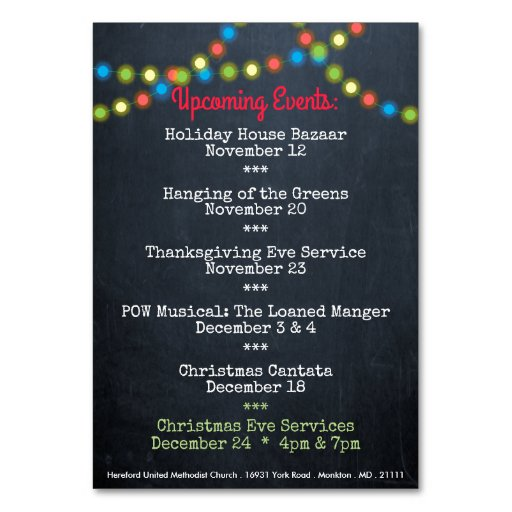 christmas upcoming events church table card zazzle. Black Bedroom Furniture Sets. Home Design Ideas
