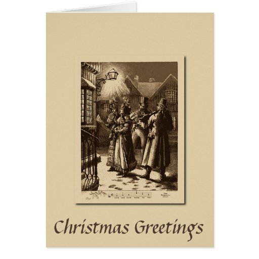 Christmas Carolers Singers Vintage Decorations By: Christmas Vintage Carol Singers And Musicians Card