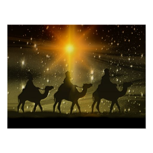 Christmas Wise Men Golden Star Of Bethlehem Poster Zazzle