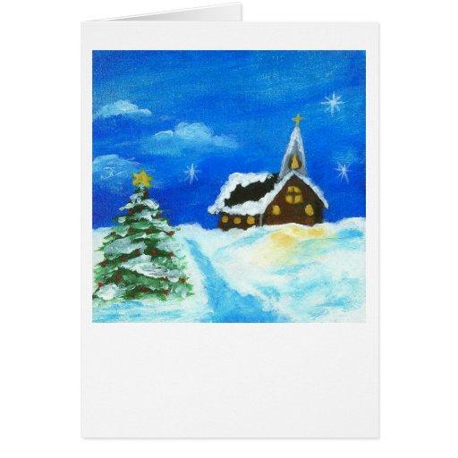 Painting Church In Snow Religious Christmas Ceramic: Church Christmas Tree Landscape Art Snow Stars Card