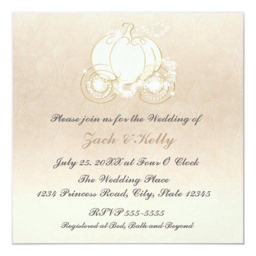 Cinderella Princess Carriage Wedding Invitation | Zazzle