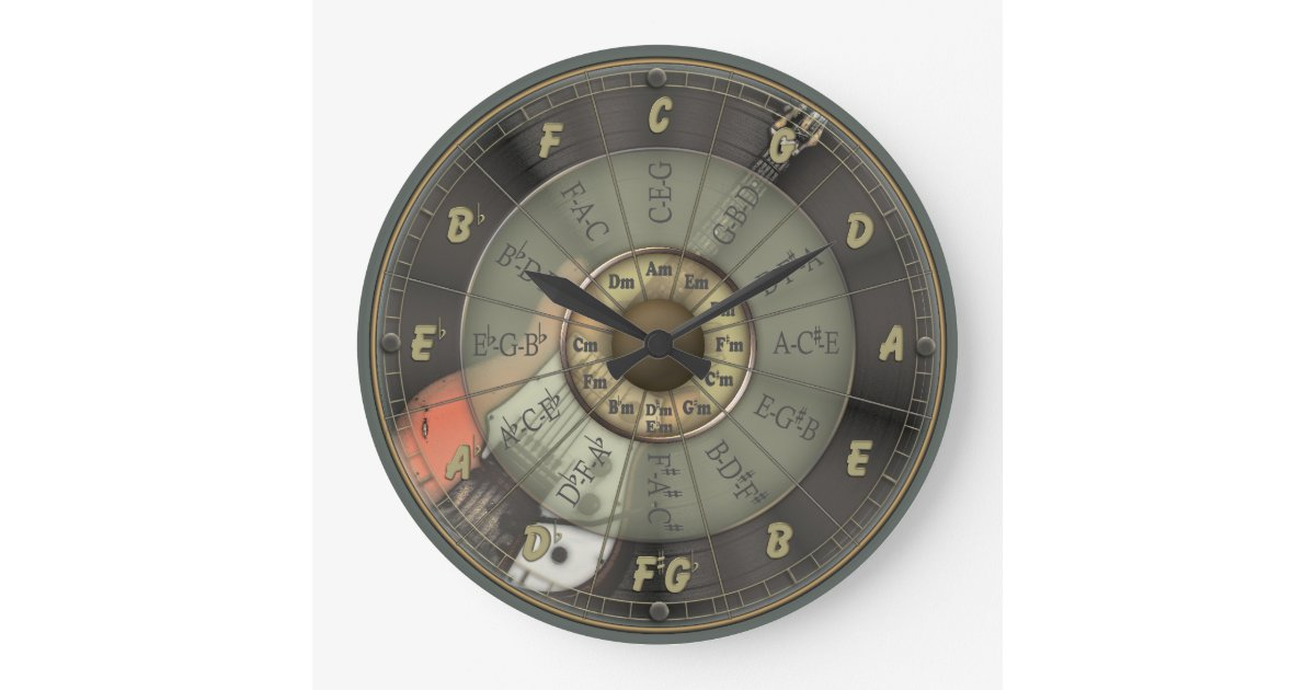 Circle Of Fifths Vintage Guitar Large Clock Zazzle