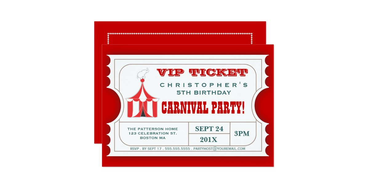 circus carnival birthday party ticket invitation zazzle. Black Bedroom Furniture Sets. Home Design Ideas