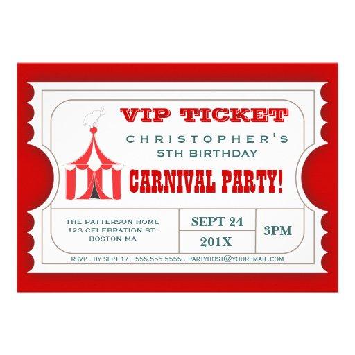 "... Birthday Party Ticket Invitation 5"" X 7"" Invitation Card | Zazzle"