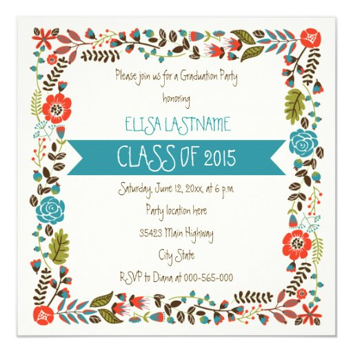 Class of 2015 teal & red floral border graduation card ...Red Graduation Borders