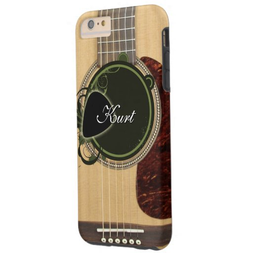 classic acoustic guitar with custom monogram name tough iphone 6 plus case zazzle. Black Bedroom Furniture Sets. Home Design Ideas